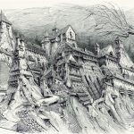 Gormenghast 12 (Prep/rough) - Pen and ink on paper, 45.5cm x 65cm (2017) - £375.00