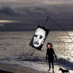 Mr Poe on a shingle beach