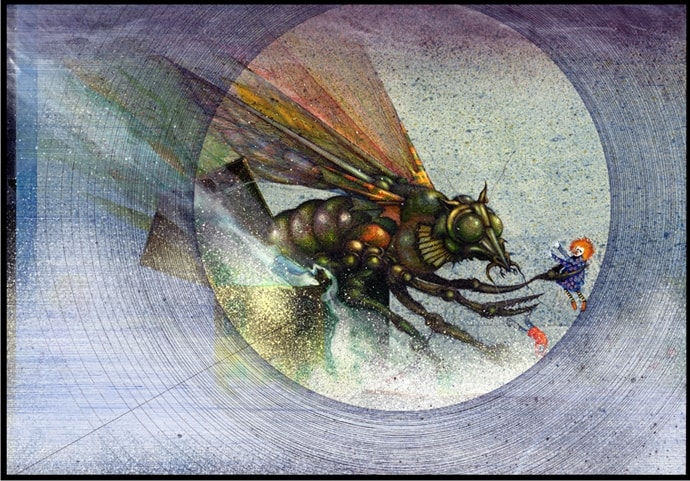 Hive Attack ­ Ink on illustration board, 17.5cm x 25cm (1977) - £1,000.00