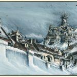Kafka / The Castle - Pen, ink and watercolour on illustration board, 24.5cm x 39cm (1982) - £750.00
