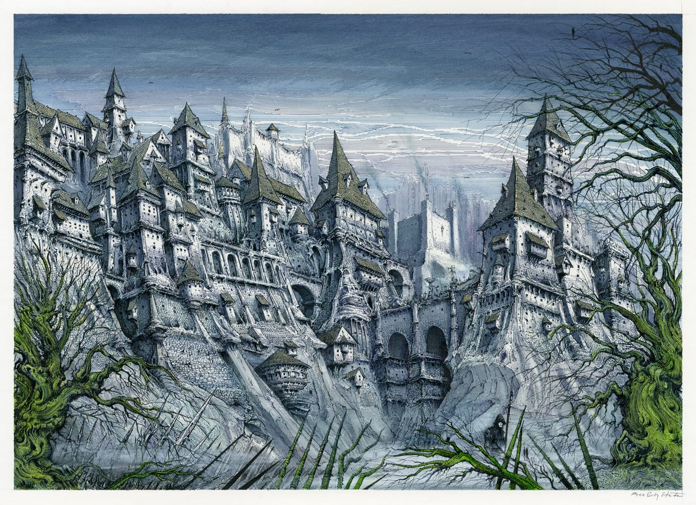 Free City Scape Pen and ink on illustration board 29.8cm x 42cm (2020) £2,000.00
