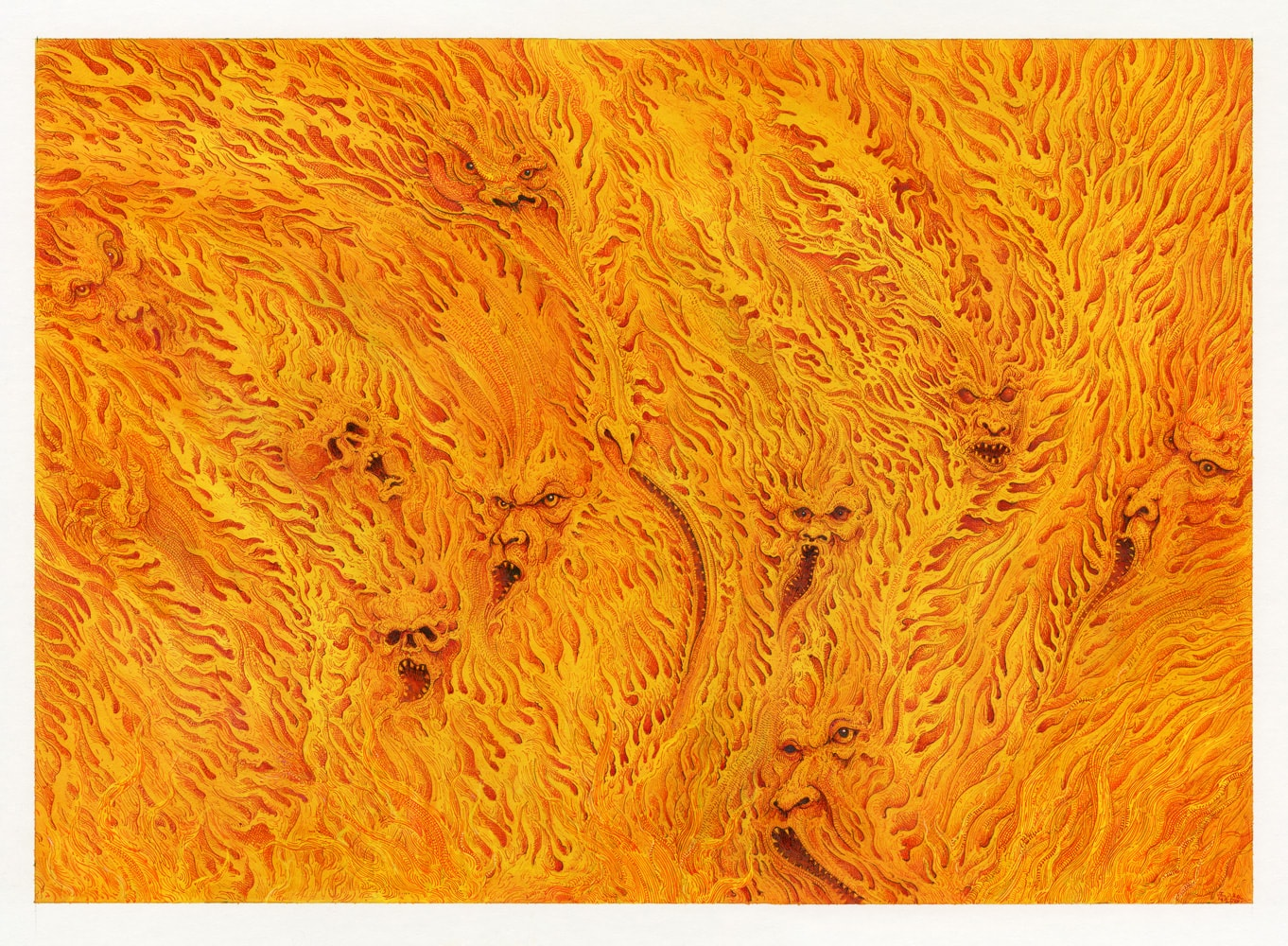 Wall Of Fire Pen and ink on illustration board 29.8cm x 42cm (2020) £750.00
