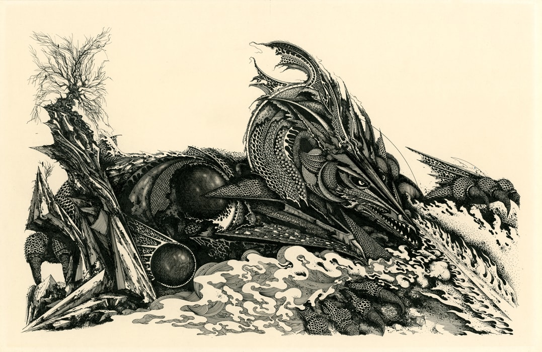 Glaurung (Tolkien Bestiary) Pen and ink on illustration board 38cm x 42cm (1979) £2,000.00